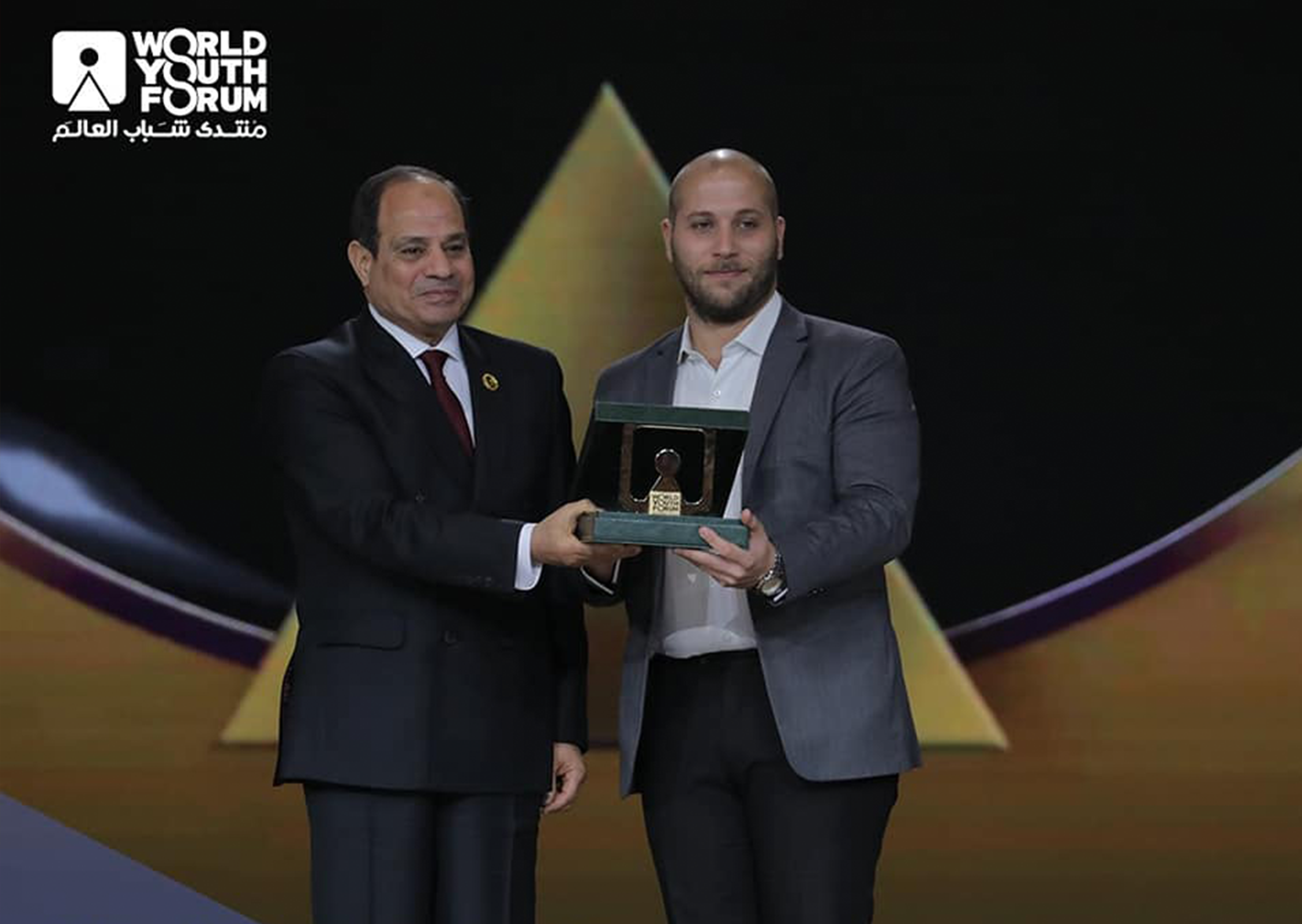 AAL Cup winner with Egyptian President Abdel Fattah El Sisi in WYF 2019.