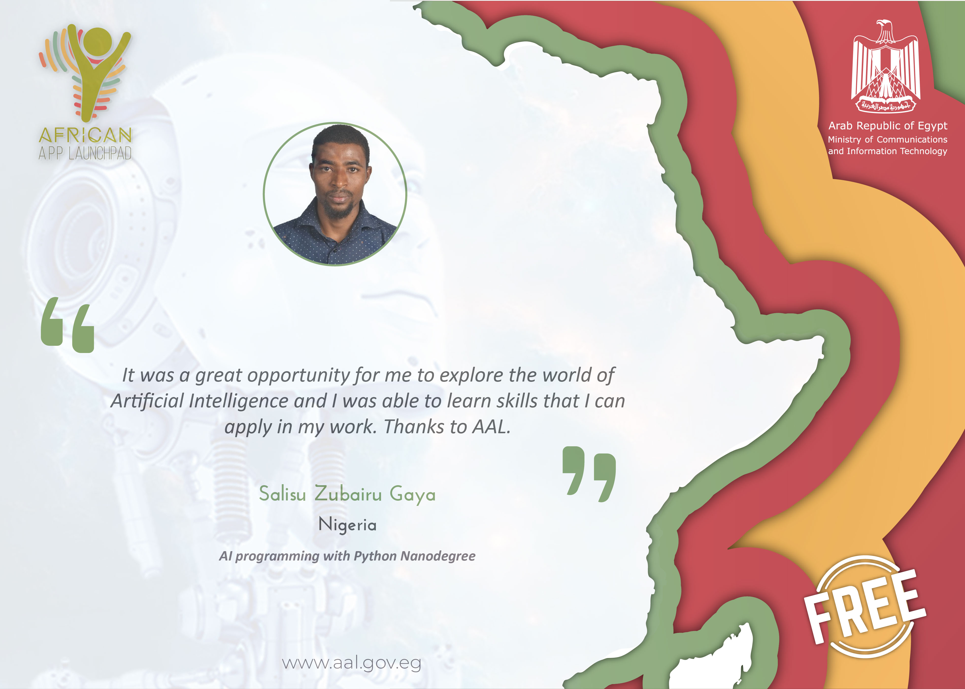AAL AI Programming with Python Nanodegree Graduate's Testimonial from Nigeria.